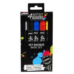 PEBEO SET 4 ARTIST MARKER 4MM OIL BASE COLORES BASICOS