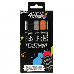 PEBEO SET 4 ARTIST MARKER 4MM OIL BASE COLORES METALICOS