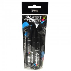 PEBEO SET DUO 4 ARTIST MARKER 2MM Y 8 MM OIL BASE NEGROS