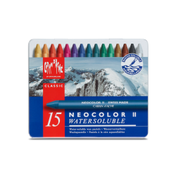 NEOCOLOR II, METAL BOX PASTELS ASSORTED - 15 PASTELS