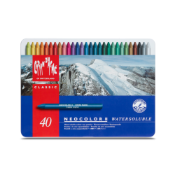 NEOCOLOR II, METAL BOX PASTELS ASSORTED - 40 PASTELS