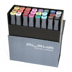 ALPHA DESIGN MARKER 24 COLOR COMBI SET