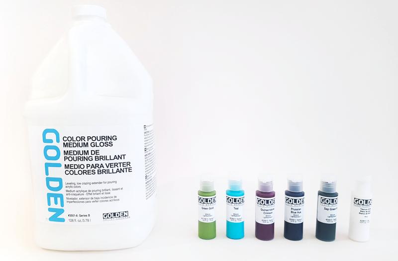 materiales pouring medium y acrilicos fluidos