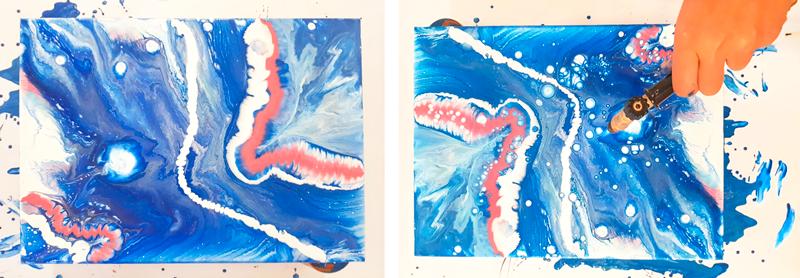 resultado pouring arte fluido